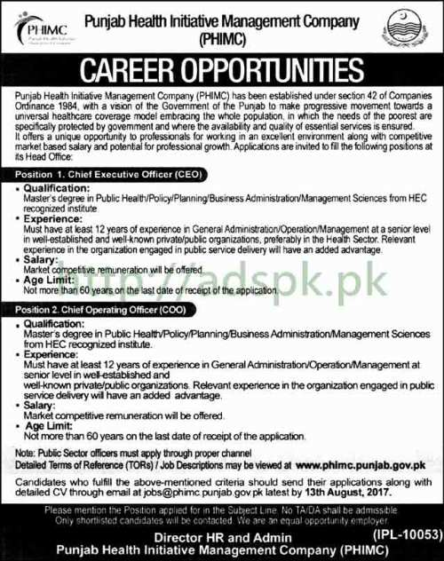 Jobs Punjab Health Initiative Management Company Punjab Government Jobs 2017 Chief Executive Officer CEO Chief Operating Officer COO Jobs Application Deadline 13-08-2017 Apply Online Now
