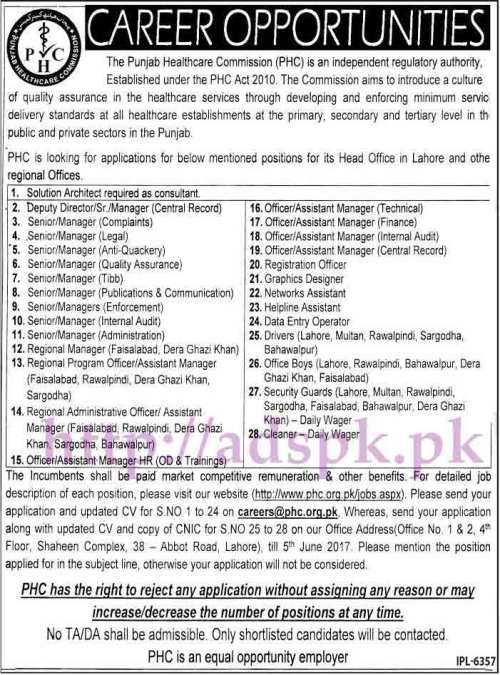 Jobs Punjab Healthcare Commission PHC Jobs 2017 for Solution Architect Deputy Director Senior Managers Assistant Managers Graphic Designer DEO Jobs Application Deadline 05-06-2017 Apply Now