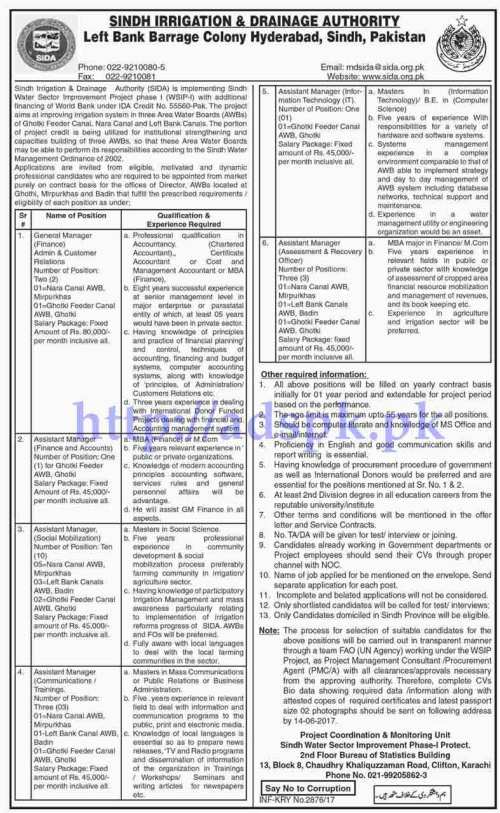 Jobs Sindh Irrigation and Drainage Authority Jobs 2017 for Managers Assistant Managers Jobs Application Deadline 14-06-2017 Apply Now