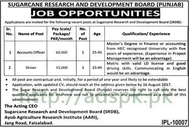 Jobs Sugarcane Research and Development Board SRDB Faisalabad Punjab Jobs 2017 Accounts Officer Driver Jobs Application Deadline 16-08-2017 Apply Now