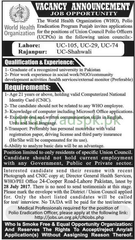 Jobs WHO World Health Organization Lahore & Rajanpur District Jobs 2017 for Union Council Polio Officers (UCPOs) Medical Officers Jobs Application Deadline 28-07-2017 Apply Now