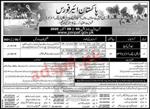 Join PAF Pakistan Air Force as Civilian Staff Sports Coach Physical Training Instructor (PTI) Eligibility Matric FA with Diploma in Physical Education Online Jobs Registration Application Deadline 09-10-2020 Apply Now