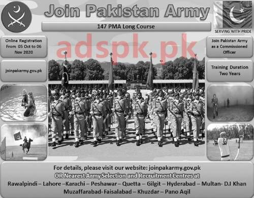 Join Pakistan Army 147 PMA Long Course as a Commissioned Officer Registration Online Last Date 06-11-2020 Apply Online Now