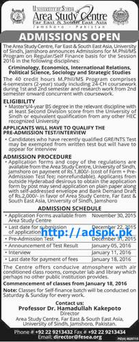 Latest Admissions Open 2015-16 of Area Study Centre University of Sindh Jamshoro Pakistan for M.Phil & MS Criminology Economics International Relations Political Science Last Date 22-12-2015 Apply Now