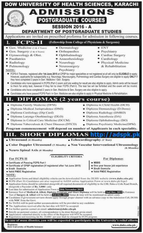 Latest Admissions Open 2016 of DOW University of Health Sciences Karachi for Postgraduate Courses FCPS-II Diplomas and Short Diplomas Last Date 20-11-2015 Apply Now