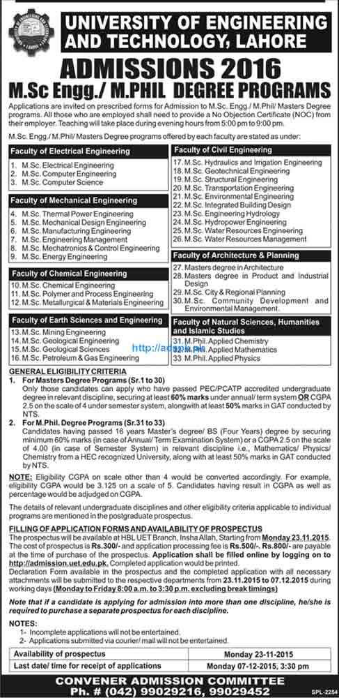 Latest Admissions Open 2016 of UET Lahore for M.Sc Engineering and M.Phil Degree Programs Last Date 07-12-2015 Apply Now