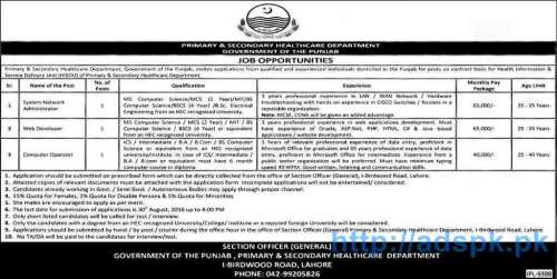 Latest Career Excellent Jobs Govt. of Punjab Primary & Secondary Healthcare Department Lahore Jobs for System Network Administrator Web Developer Computer Operator Applications Deadline 30-08-2016 Apply Now