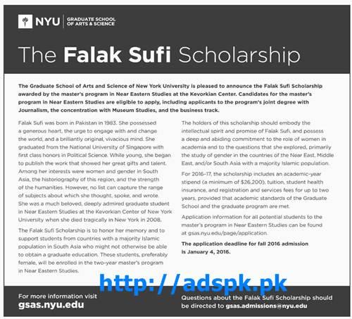Latest Falak Sufi Scholarship 2016 Graduate School of Arts & Science of New York University Program for Masters Last Date 04-01-2016 Apply Online Now