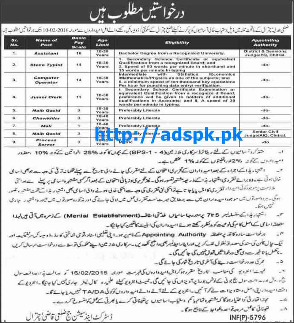 Latest Govt. Jobs of District and Sessions Judge Chitral