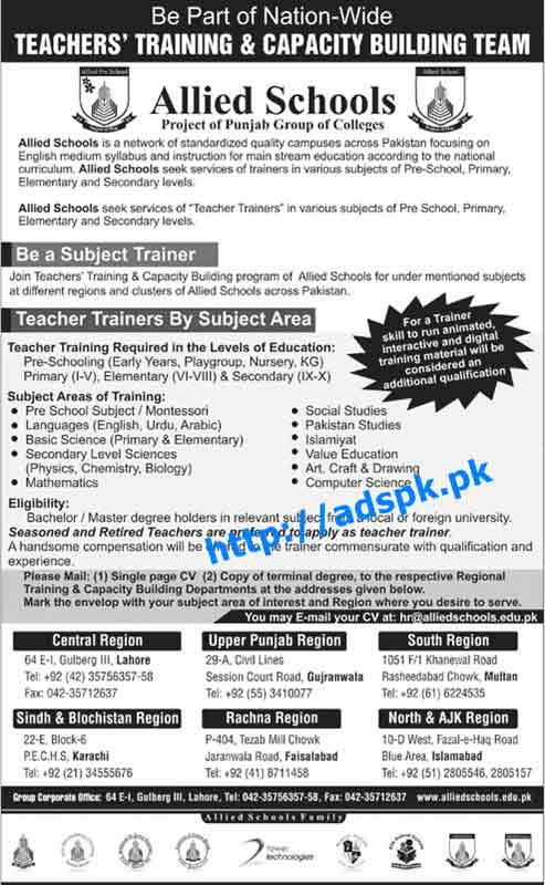 Latest Jobs of Allied Schools Jobs 2015 for Subject Trainer Teacher Trainers by Subject Area Apply Online Now by Daily Jang