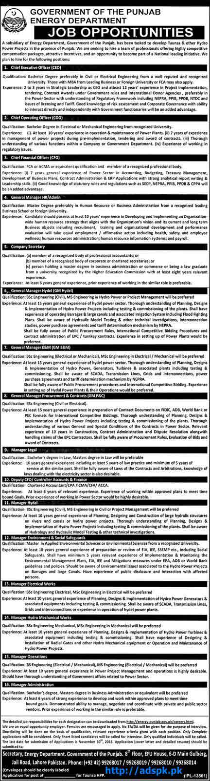 Latest Jobs of Energy Department Govt. of Punjab Jobs 2015 for Chief Executive Officer Company Secretary General Managers Last Date 30-11-2015 Apply Now