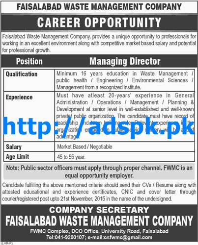 Latest Jobs of Faisalabad Waste Management Company Jobs 2015 for Managing Director Last Date 21-11-2015 Apply Now by Daily Dawn