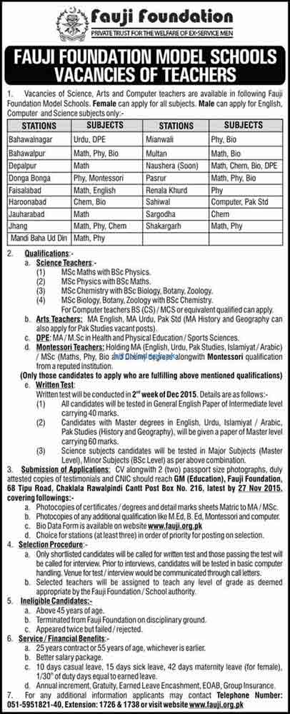 Latest Jobs of Fauji Foundation Jobs 2015 for Science Arts and Computer Teachers Various Jobs (Male-Female) Last Date 27-11-2015 Apply Now