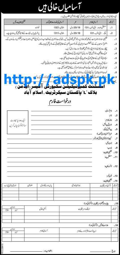 Latest Jobs of Govt. of Pakistan Jobs 2015 for Regular Labour and Packer (BPS-01) Jobs Last Date 12-12-2015 Apply Now