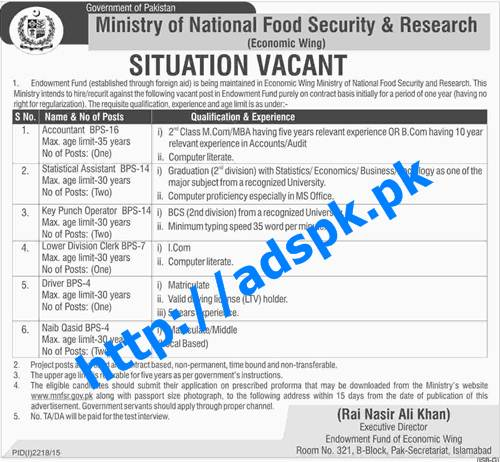 Latest Jobs of Govt. of Pakistan Ministry of National Food Security & Research (Economic Wing) Jobs 2015 for BPS-04 to BPS-16 Accountant Statistical Assistant KPO LDC Last Date 19-11-2015 Apply Now