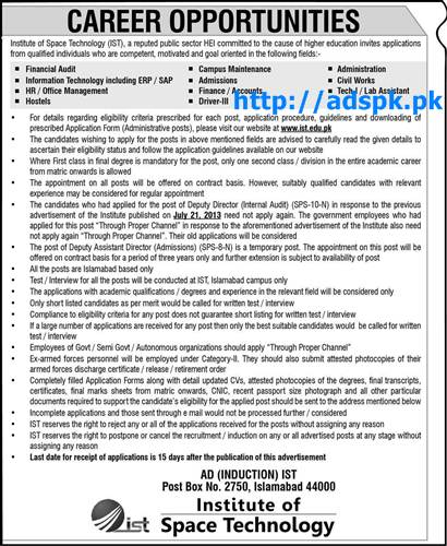 Latest Jobs of Institute of Space Technology Islamabad Jobs 2015 for Various New Fields Jobs Last Date 23-11-2015 Apply Now