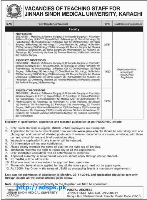 Latest Jobs of Jinnah Sindh Medical University Karachi Jobs 2015 for Professors Associate Professors Assistant Professors Last Date 23-11-2015 Apply Now
