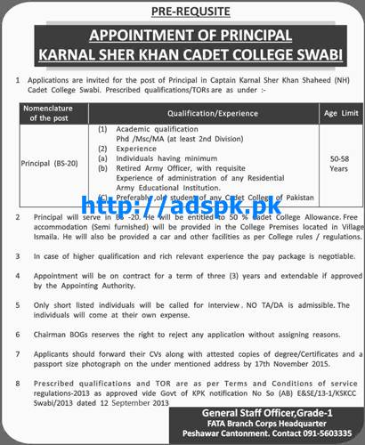 Latest Jobs of Karnal Sher Khan Cadet College Swabi Jobs 2015 for Principal (BS-20) Last Date 17-11-2015 Apply Now