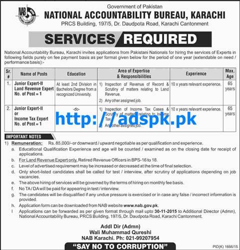 Latest Jobs of National Accountability Bureau Karachi NAB Jobs 2015 for Junior Experts (Land Revenue Income Tax Expert) Last Date 30-11-2015 Apply Now