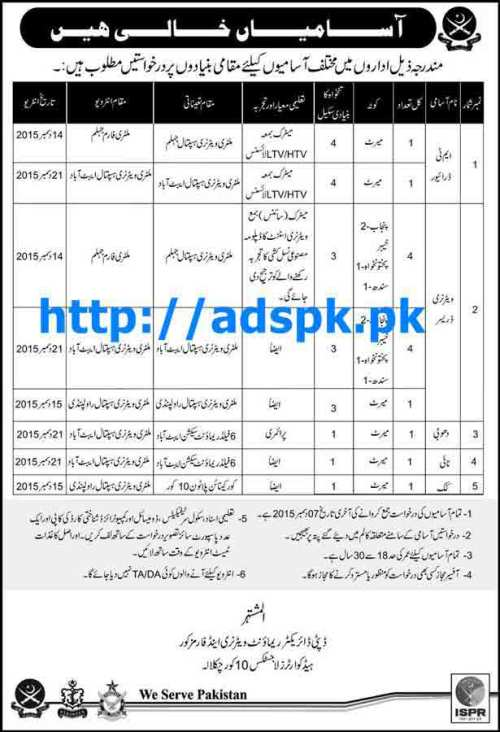 Latest Jobs of Pakistan Army Civilian Jobs 2015 for MT Driver Veterinary Dresser and other Staff Last Date 07-12-2015 Apply Now