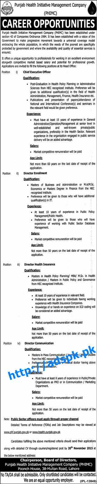 Latest Jobs of Punjab Health Initiative Management Company Jobs 2015 for Chief Executive Officer Directors Enrollment Health Insurance Communication Last Date 20-11-2015 Apply Now