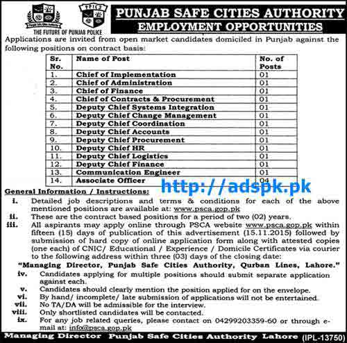 Latest Jobs of Punjab Safe Cities Authority Jobs 2015 for Chief Deputy Chief and Associate Officer Jobs Last Date 15-11-2015 Apply Online Now