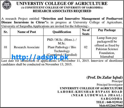 Latest Jobs of University of Sargodha (University College of Agriculture) Jobs 2015 for Research Associate Last Date 11-11-2015 Apply Now by UOS