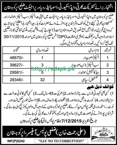Latest Jobs of WAPDA Security Dasu Hydropower Project District Upper Kohistan Jobs 2015 for Inspector Sub Inspector Head Constable Last Date 30-11-2015 Apply Now