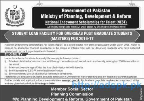 Latest National Endowment Scholarships for Talent 2016-17 (NEST) Govt. of Pakistan for Student Loan Facility for Overseas Postgraduate Students (Masters) Application Deadline 25-08-2016 Apply Now
