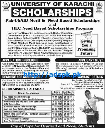 Latest Scholarships University of Karachi Pak-USAID Merit & Need Based Scholarships and HEC Need Based Scholarships Program for Bachelors Masters Pharm-D Last Date 31-12-2015 Apply Now