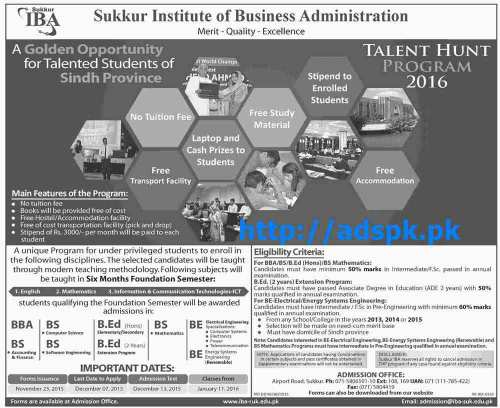 Latest Talent Hunt Program 2016 of IBA Sukkur for Talented Students of Sindh Province Last Date 07-12-2015 Apply Now