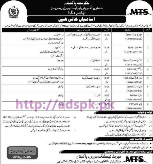MTS New Career Jobs Ministry of Petroleum and Natural Resources (Policy Wing) Islamabad Jobs for BPS-01 to BPS-15 Steno Typist Assistant Accounts Assistant Draftsman Application Deadline 05-09-2016 Apply Now