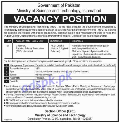 Ministry of Science and Technology (MoST) Islamabad Jobs 2020 for Chairman Pakistan Science Foundation (PSF) Islamabad Jobs Application Form Deadline 05-05-2020 Apply Now
