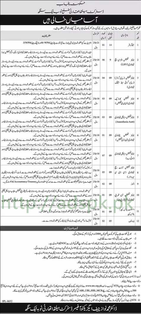 NTS Jobs District Health Authority Toba Tek Singh Jobs 2017 Written Test MCQs Syllabus Paper for Stenographer Junior Technicians Almoner Assistant Housekeeper Midwife Application Form Deadline 19-07-2017 Apply Now by NTS Pakistan