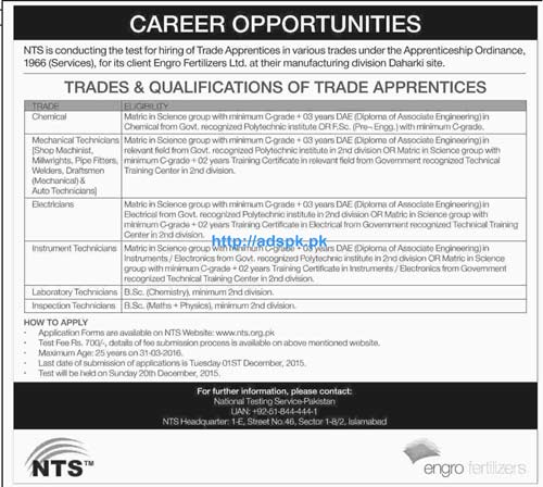 NTS Jobs of Engro Fertilizers Limited Jobs 2015 for Apprentices in various Trades NTS Last Date 01-12-2015 Test Dated 20-12-2015 Apply Now by NTS Pakistan