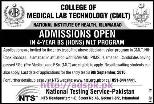NTS New Admissions Open 2016-17 College of Medical Lab Technology (CMLT) Written Test Syllabus Paper Screening Test for Admission in BS (Hons) MLT Program Application Deadline 09-09-2016 Apply Now by NTS Pakistan