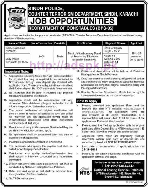 NTS New Career Excellent Jobs CTD Sindh Police Counter Terrorism Department Karachi Jobs 2016-17 Written Test Syllabus Paper for Recruitment of 1000 Constables Police Constable Lady Police Constable Application Form Deadline 28-10-2016 Apply Now by NTS Pakistan