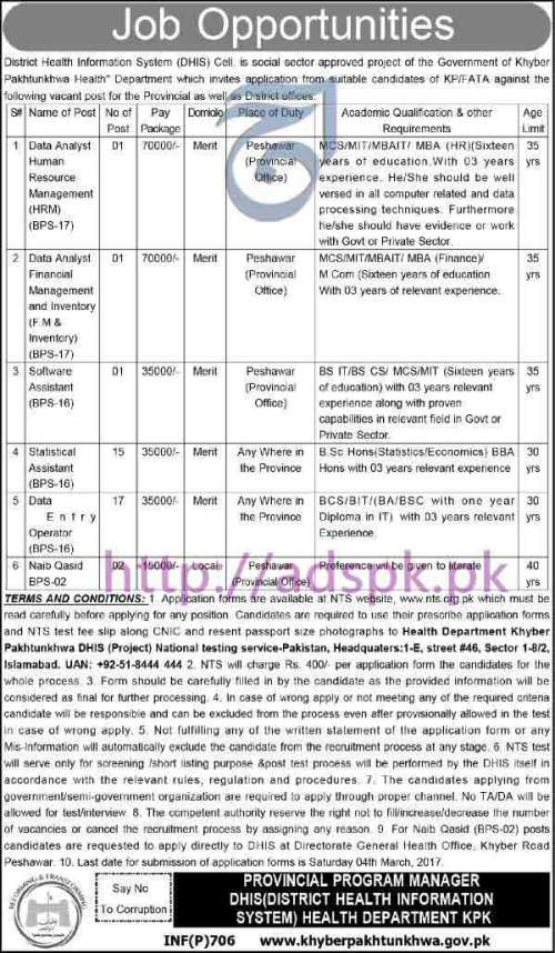 NTS New Career Excellent Jobs District Health Information System (DHIS) Cell KPK Govt. Health Department Jobs Written Test Syllabus Paper for Data Analyst HRM Data Analyst (FM& Inventory) Software Assistant Application Form Deadline 04-03-2017 Apply Now by NTS Pakistan