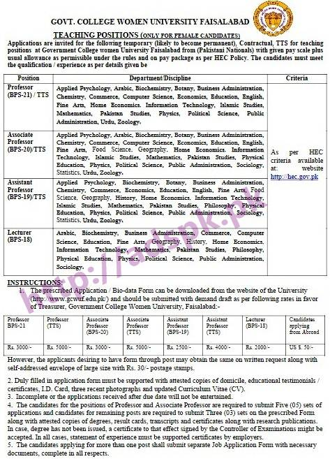 NTS New Career Excellent Jobs Government College Women University Faisalabad (GCWUF) Jobs MCQs Written Test Syllabus Papers Lecturers (Only for Female Candidates) (Arabic Biochemistry Business Administration Commerce Computer Science Education Fine Arts Geography History Home Economics Information Technology Mathematics Pakistan Studies Philosophy Physical Education Physics Political Science Public Administration Sociology) Application Form Deadline 08-03-2017 Apply Now by NTS Pakistan
