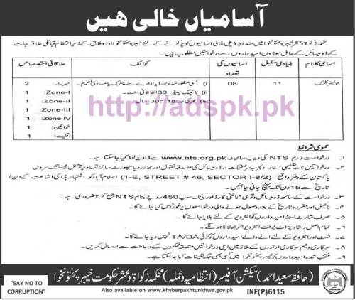 NTS New Career Excellent Jobs Zakat & Usher Department Khyber Pakhtunkhwa Jobs Written Test Syllabus Paper for Junior Clerk (BPS-11) Application Form Deadline 05-11-2016 Apply Now by NTS Pakistan