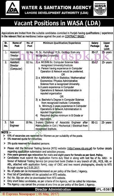 NTS New Jobs Water & Sanitation Agency (WASA) Lahore Development Authority (LDA) Jobs 2017 Written Test MCQs Syllabus Paper for Assistant Director Hydrology Assistant Director Computer Sub Engineer (Civil Electrical Mechanical) Jobs Application Form Deadline 23-05-2017 Apply Now by NTS Pakistan