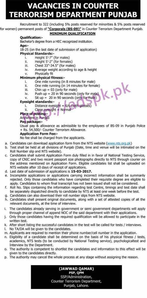 NTS Punjab Counter Terrorism Department Jobs 2017 Advertisement