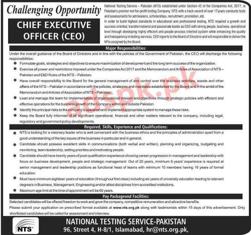 National Testing Service NTS - Pakistan Jobs 2020 for Chief Executive Officer CEO Jobs Application Form Deadline 10-08-2020 Apply Now