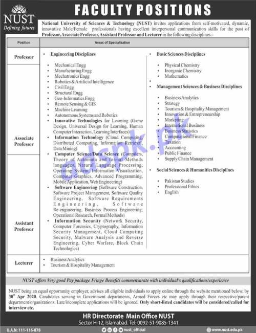 National University of Sciences & Technology (NUST) Jobs 2020 for Professor Associate Professor Assistant Professor and Lecturer Jobs Application Form Deadline 30-04-2020 Apply Now