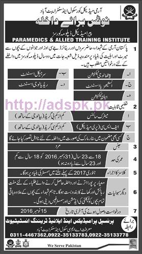New Admissions 2016-17 Army Medical Corp School and Center Abbottabad for Paramedical 2 Years Diploma Courses Application Form Deadline 15-11-2016 Apply Now