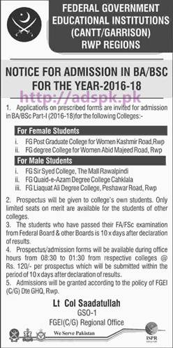 New Admissions 2016-18 Open Federal Government Educational Institutions (Cantt-Garrison) Rawalpindi Regions for BA and B.Sc (Part-I) Male-Female Students Application Form available Apply Now