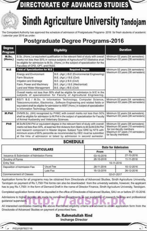 New Admissions Open 2016-17 Sindh Agriculture University Tandojam for M.Sc M.E MSIT M.Phil PhD Degree Programs Application Form Deadline 27-10-2016 Apply Now