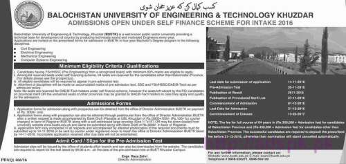 New Admissions Open 2016-17 under Self Finance Scheme for B.Sc Engineering (Civil Electrical Mechanical Computer Systems) in Balochistan University of Engineering and Technology Khuzdar Application Deadline 14-11-2016 Apply Now
