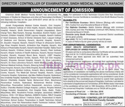 New Admissions Open 2016-2017 Sindh Medical Faculty Karachi for Dispensers and Other All Paramedical Certificate and Diploma Courses Application Deadline 31-10-2016 Apply Now