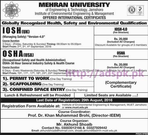 New Admissions Open 2016 Mehran UET Jamshoro for International Certifications Program IOSH (UK) OSHA (USA) Complete Fee Structure Application Deadline 29-08-2016 Apply Now